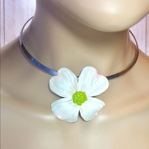 White Dogwood Blossom 17 inch choker necklace